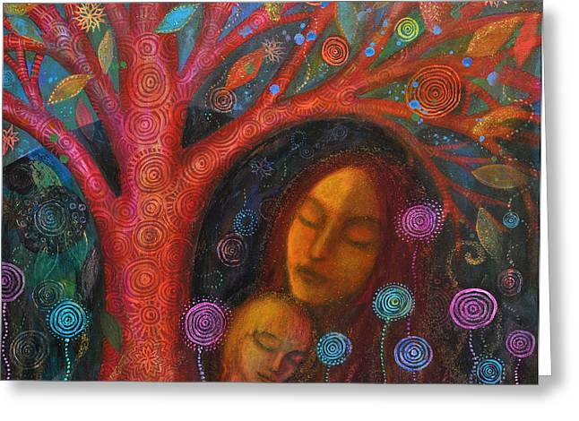 Empowerment Greeting Cards - Mother Child Tree Greeting Card by Alice Mason