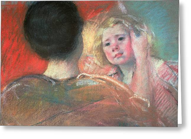 Caring Mother Paintings Greeting Cards - Mother combing Saras hair  Greeting Card by Mary Stevenson Cassatt