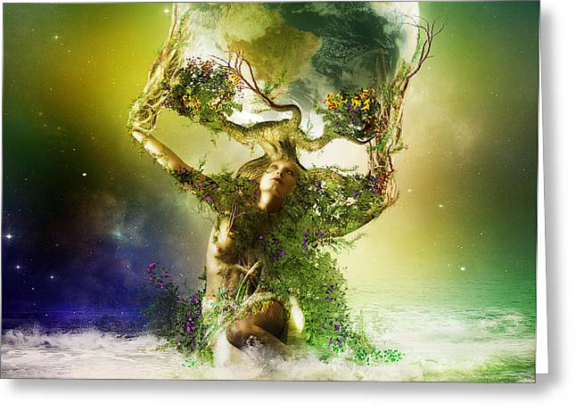 Mother Earth Greeting Card by Karen H