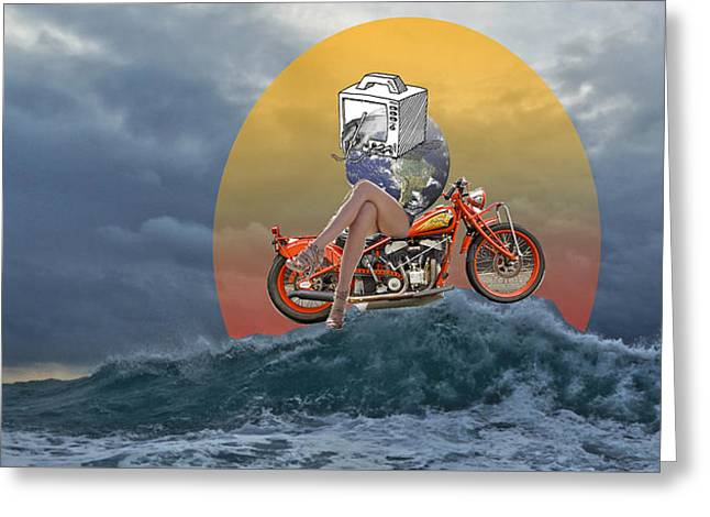 Mother Earth Sails On The Sea Greeting Card by David Zimmerman