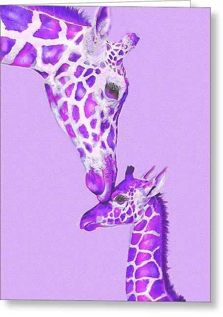 Giraffe Digital Art Greeting Cards - Mother Giraffe Greeting Card by Jane Schnetlage