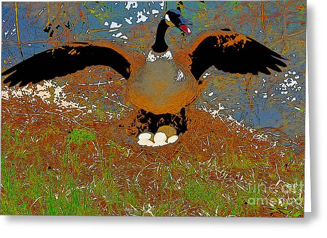 Mother Goose Greeting Cards - Mother Goose Guards Nest Greeting Card by Chris  Taggart