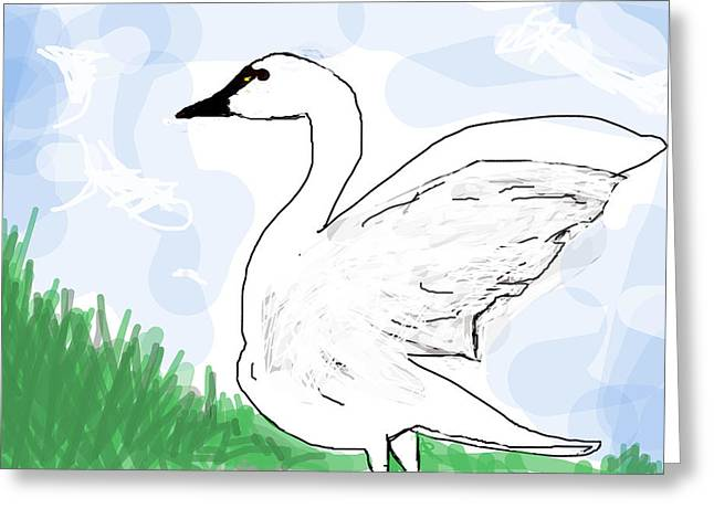 Geese Drawings Greeting Cards - Mother Goose  Greeting Card by Paul Sutcliffe
