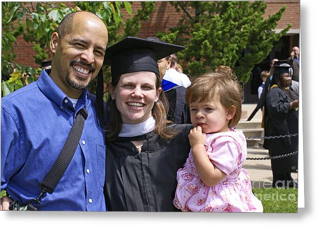 Biracial Greeting Cards - Mother Graduates With Masters Degree Greeting Card by Blair Seitz