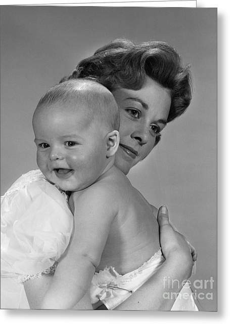 Caring Mother Greeting Cards - Mother Holding Baby, C.1960s Greeting Card by H. Armstrong Roberts/ClassicStock