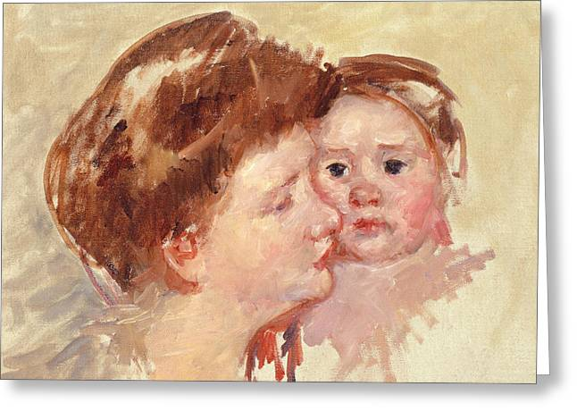 Mother In Profile With Baby Cheek To Cheek Greeting Card by Mary Stevenson Cassatt