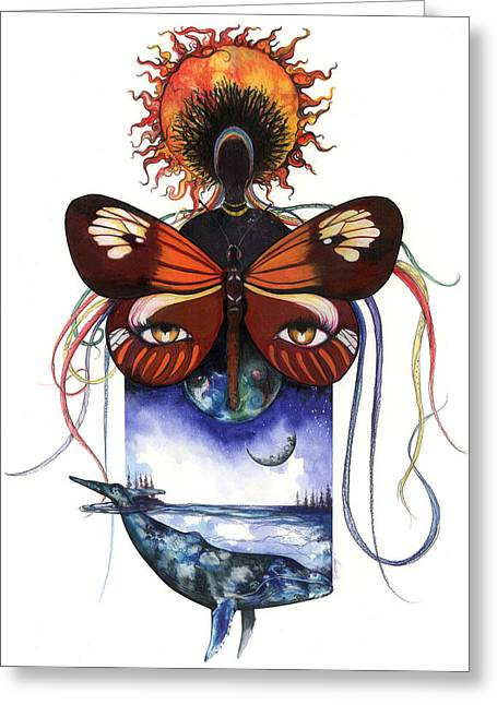 African-american Mixed Media Greeting Cards - Mother Nature Greeting Card by Anthony Burks Sr
