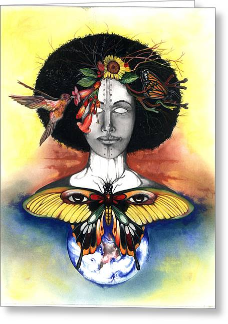 African-american Mixed Media Greeting Cards - Mother Nature III Greeting Card by Anthony Burks Sr