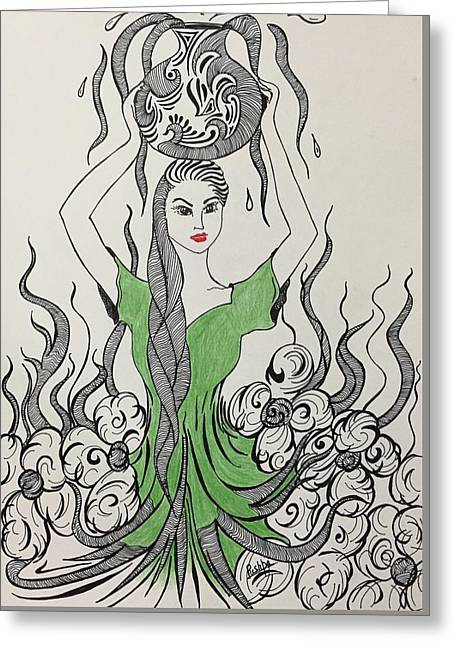 Pen Greeting Cards - Mother Nature Greeting Card by Pushpa Sharma