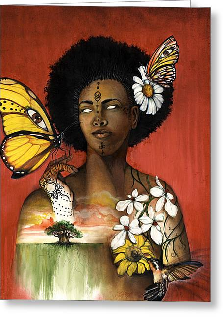 American ist Mixed Media Greeting Cards - Mother Nature VIII Greeting Card by Anthony Burks Sr