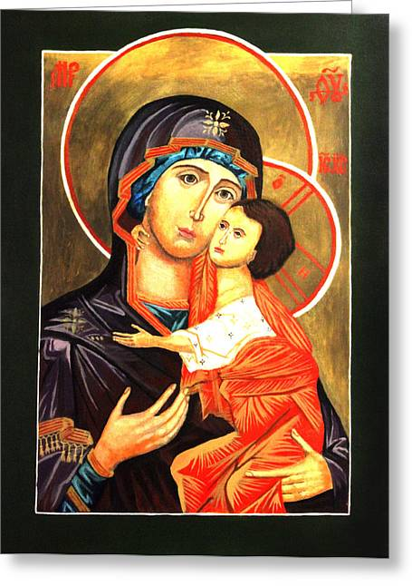 Lamb Of God Paintings Greeting Cards - Mother of God Antiochian Orthodox Icon Greeting Card by Patrick Kelly