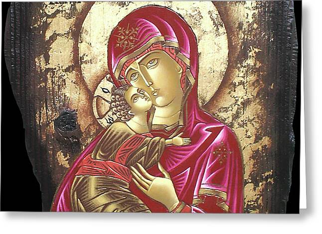 Mother of God Greeting Card by Iosif Ioan Chezan