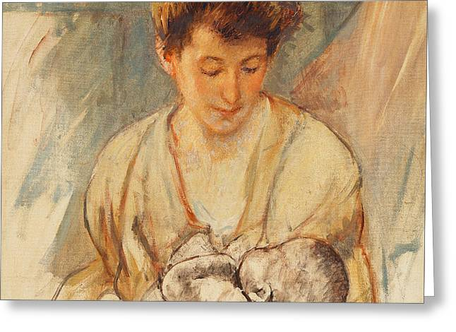 Mother Rose Looking Down At Her Sleeping Baby Greeting Card by Mary Stevenson Cassatt