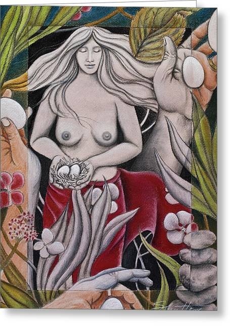 Woman In Egg Greeting Cards - Mother Greeting Card by Sheri Howe