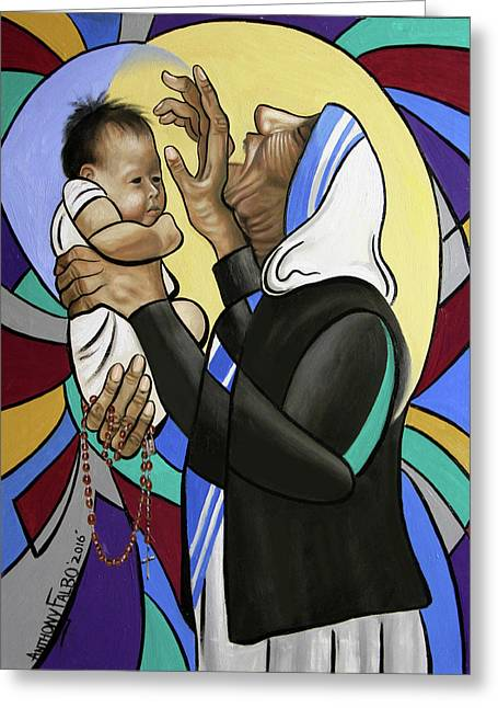 Mother Teresa, A Prayer From The Heart Greeting Card by Anthony Falbo