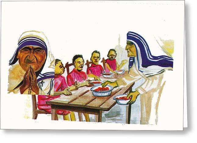 Mother Teresa Greeting Card by Emmanuel Baliyanga