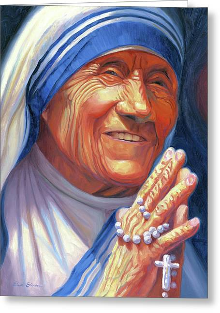 Mother Teresa Greeting Cards - Mother Teresa Greeting Card by Steve Simon