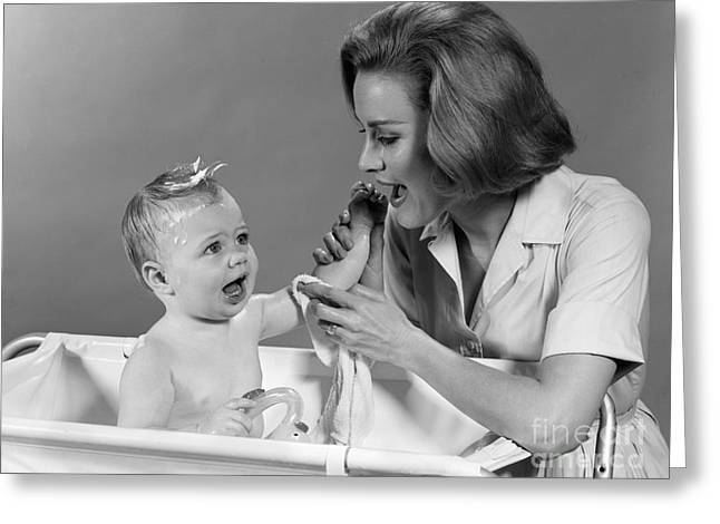 Caring Mother Greeting Cards - Mother Washing Baby In Bath Tub, C.1960s Greeting Card by H. Armstrong Roberts/ClassicStock