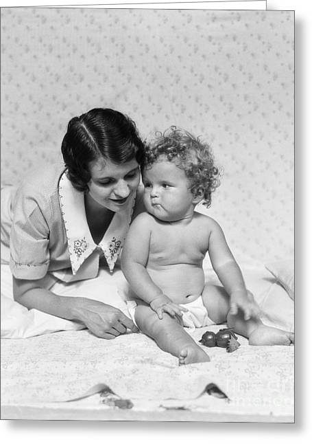 Caring Mother Greeting Cards - Mother With Baby, C.1920-30s Greeting Card by H. Armstrong Roberts/ClassicStock
