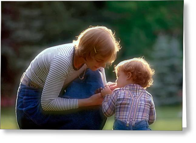 Mother with kid Greeting Card by Juan Carlos Ferro Duque