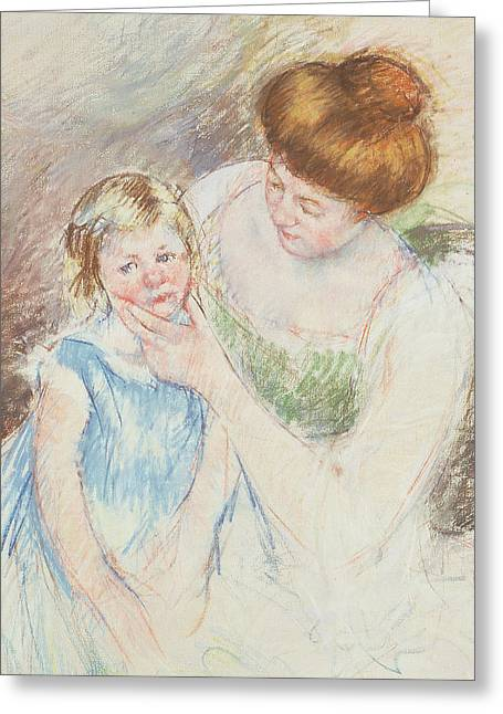 Mother With Left Hand Holding Sara's Chin  Greeting Card by Mary Stevenson Cassatt