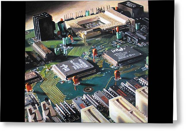 Processor Greeting Cards - Motherboard Greeting Card by Pamela Bennett
