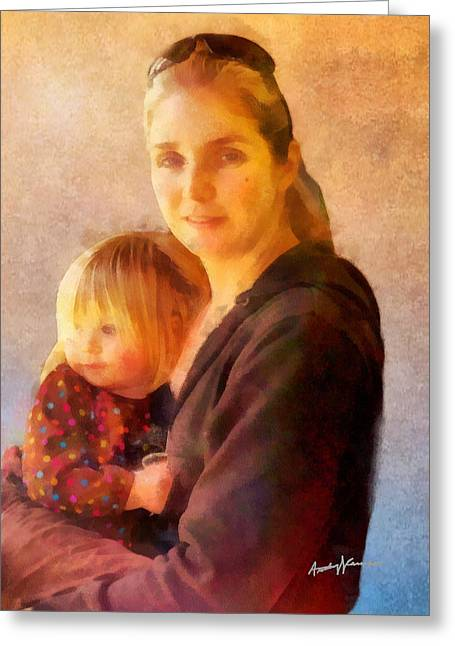Portrait Digital Art Greeting Cards - Motherhood Greeting Card by Anthony Caruso