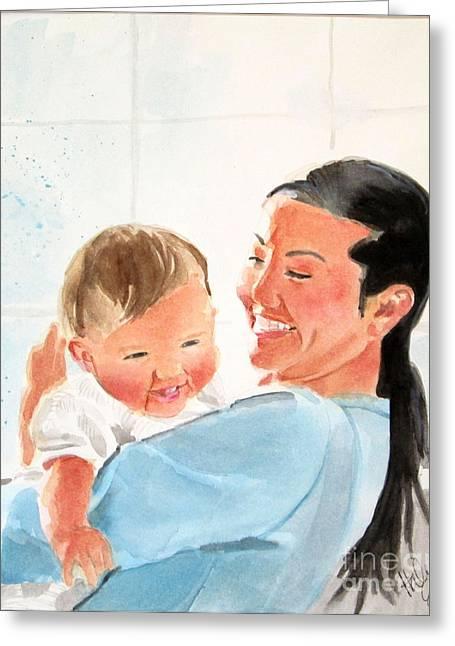 Biracial Greeting Cards - Motherhood Greeting Card by Haley Jula