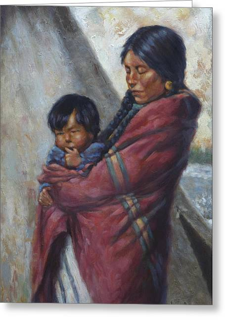 Native American Woman Greeting Cards - Motherhood Greeting Card by Harvie Brown