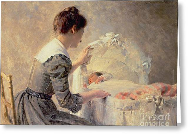 Caring Mother Paintings Greeting Cards - Motherhood Greeting Card by Louis Emile Adan