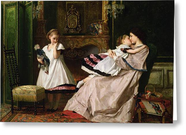 Tapestries Greeting Cards - Motherly Love Greeting Card by Gustave Leonard de Jonghe