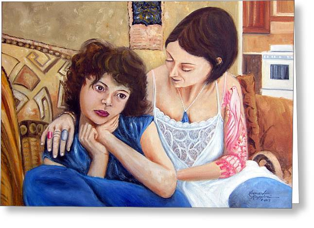 Caring Mother Greeting Cards - Motherly Love Greeting Card by Leonardo Ruggieri