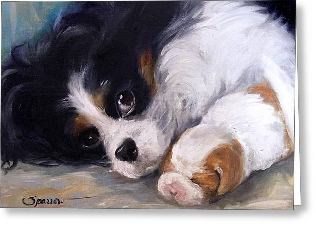 Puppies Paintings Greeting Cards - Mothers Day Greeting Card by Mary Sparrow