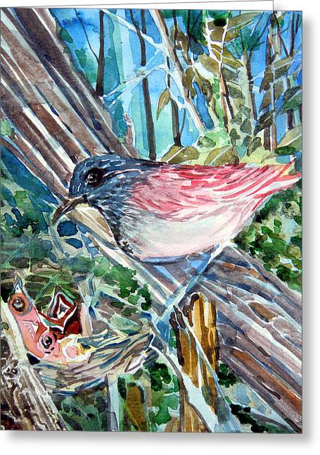 Baby Bird Drawings Greeting Cards - Mothers Day Greeting Card by Mindy Newman