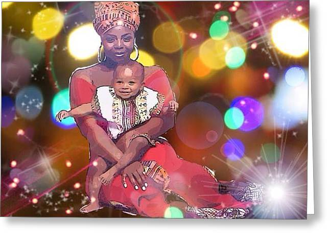 African-american Greeting Cards - Mothers Love Greeting Card by Karen Buford