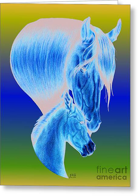 Colour Pencil Greeting Cards - Mothers Love Greeting Card by Sheryl Unwin