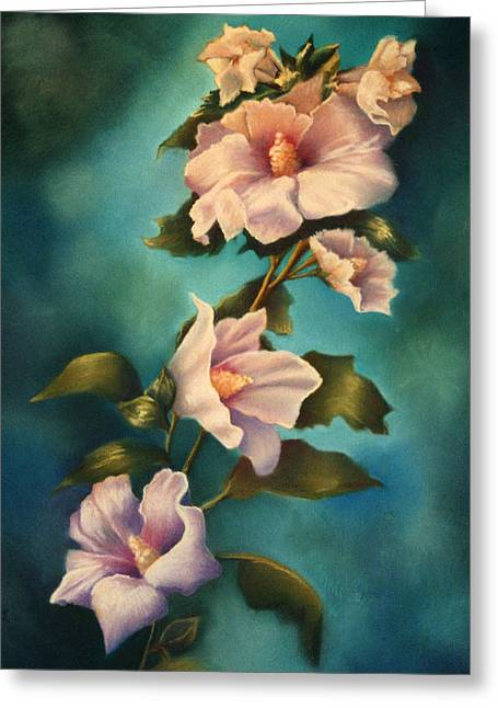 Althea Paintings Greeting Cards - Mothers Rose of Sharon Greeting Card by Marti Bailey