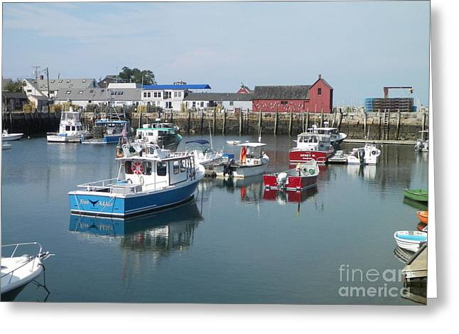 New England Village Greeting Cards - Motif #1 Rockport Greeting Card by Gina Sullivan