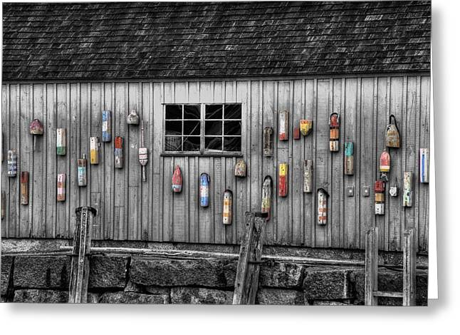 Red Fishing Shack Greeting Cards - Motif no 1 - Fish Shack Greeting Card by Joann Vitali