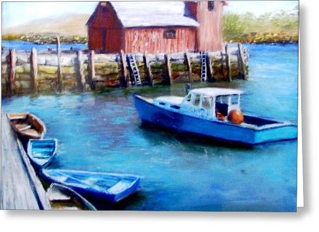 Motif One Rockport Harbor Greeting Card by Jack Skinner