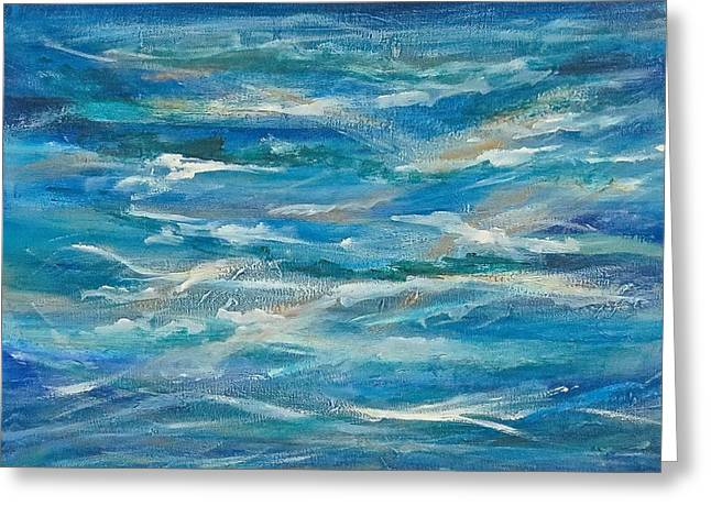 Abstract Waves Greeting Cards - Motion In Blue Greeting Card by Debbie Auclair