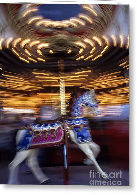 Festivities Greeting Cards - Motion Merry-Go-Round Greeting Card by Jim Corwin