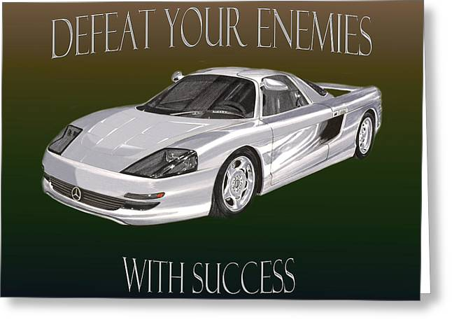 Motivational Poster Greeting Cards - Motivational Mercedes Benz Poster Greeting Card by Jack Pumphrey