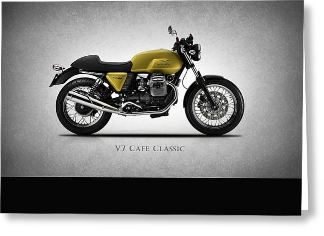 Motorcycles Greeting Cards - Moto Guzzi V7 Cafe Classic Greeting Card by Mark Rogan