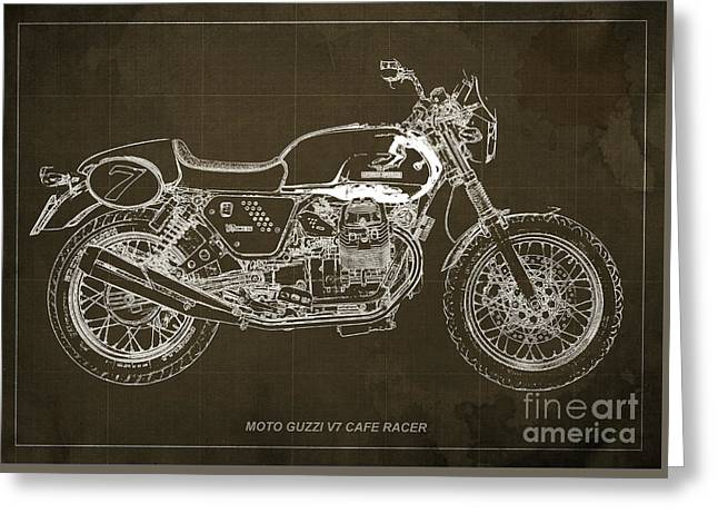 Motorcycle Greeting Cards - Moto Guzzi V7 Cafe Racer Greeting Card by Pablo Franchi