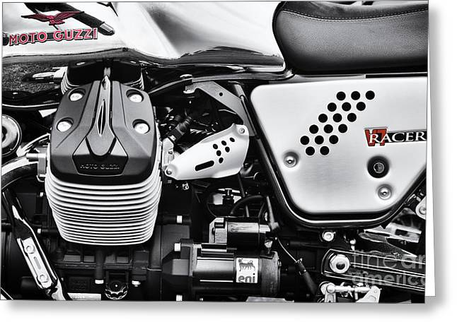 V Twin Greeting Cards - Moto Guzzi V7 Racer monochrome Greeting Card by Tim Gainey