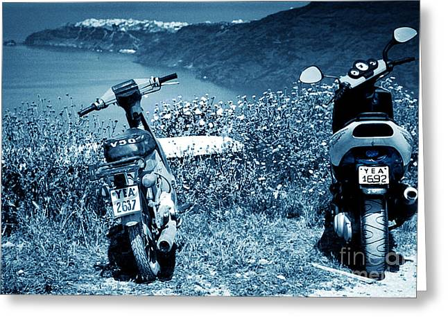 Motor Scooters Greeting Cards - Motor Scooters In Greece Greeting Card by Madeline Ellis