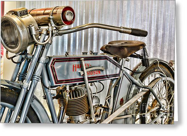 Belt Driven Greeting Cards - Motorcycle - 1913 Harley Davidson 9A Greeting Card by Paul Ward