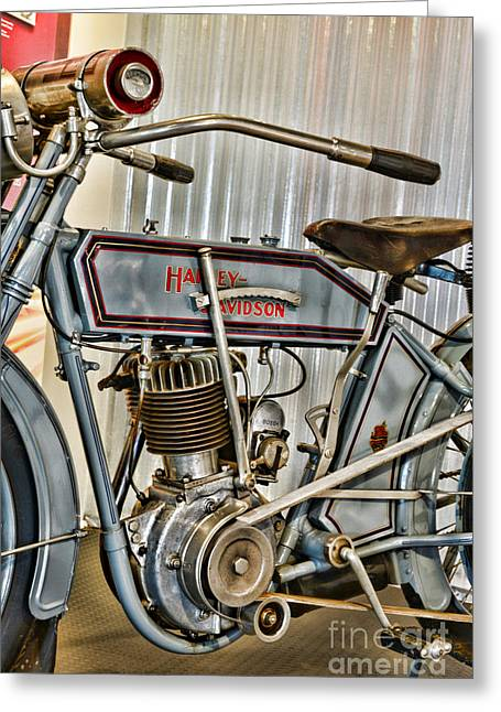 Belt Driven Greeting Cards - Motorcycle - 1913 Harley Davidson  Greeting Card by Paul Ward