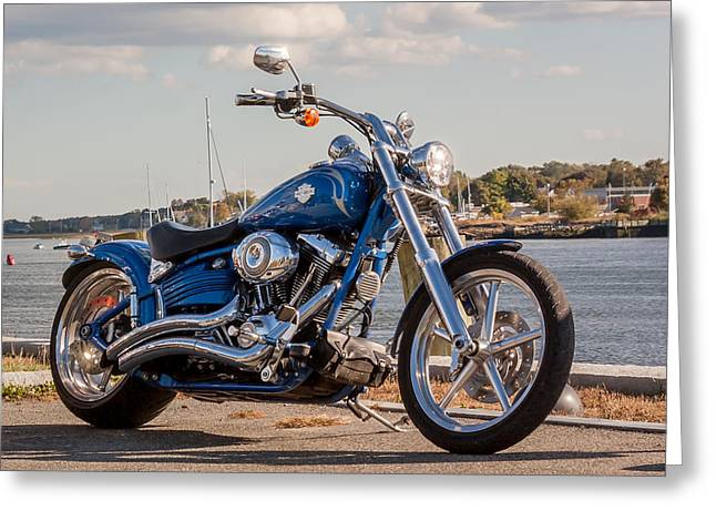Scenic Drive Greeting Cards - Motorcycle at the Harbor Greeting Card by Laura Duhaime